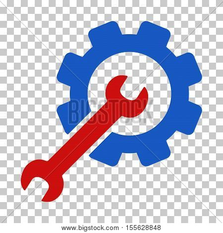Blue And Red Setup Tools interface toolbar icon. Vector pictograph style is a flat bicolor symbol on chess transparent background.