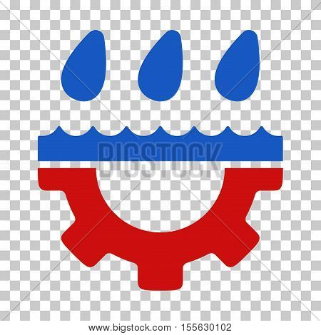 Blue And Red Water Gear Drops interface toolbar pictogram. Vector pictogram style is a flat bicolor symbol on chess transparent background.