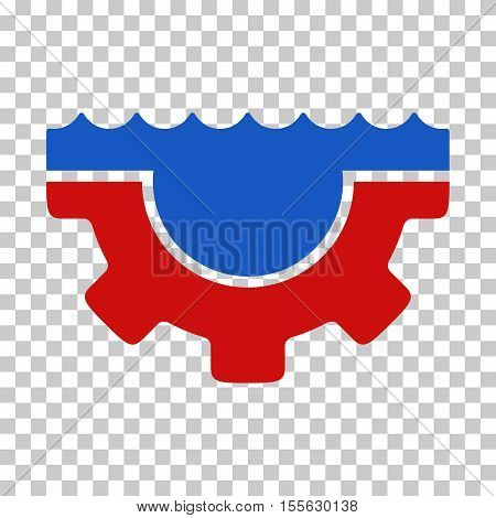 Blue And Red Water Service Gear interface icon. Vector pictograph style is a flat bicolor symbol on chess transparent background.