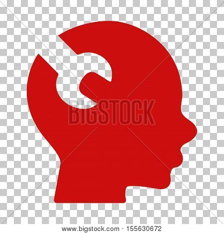 Red Brain Wrench Tool interface toolbar icon. Vector pictogram style is a flat symbol on chess transparent background.