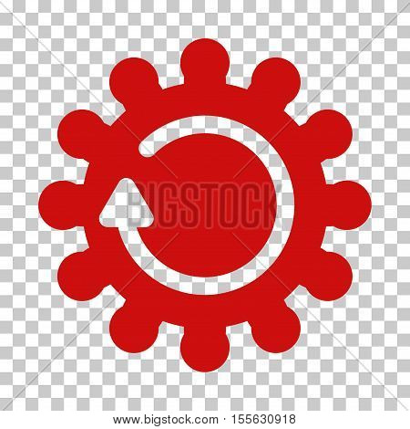 Red Cog Rotation toolbar icon. Vector pictograph style is a flat symbol on chess transparent background.