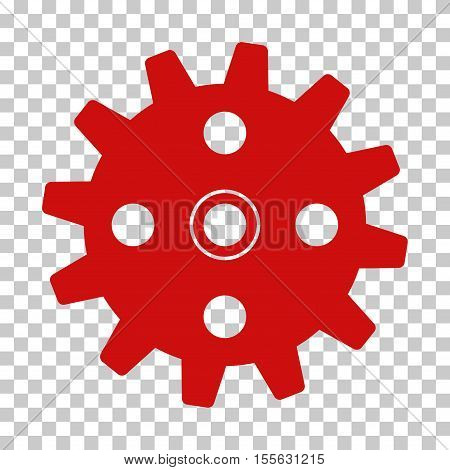 Red Cogwheel interface toolbar icon. Vector pictogram style is a flat symbol on chess transparent background.