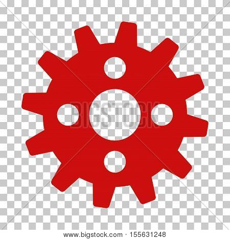 Red Cogwheel toolbar icon. Vector pictograph style is a flat symbol on chess transparent background.