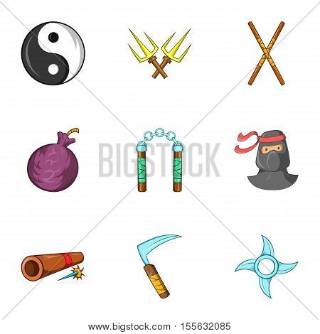 Ninja icons set. Cartoon illustration of 9 ninja vector icons for web