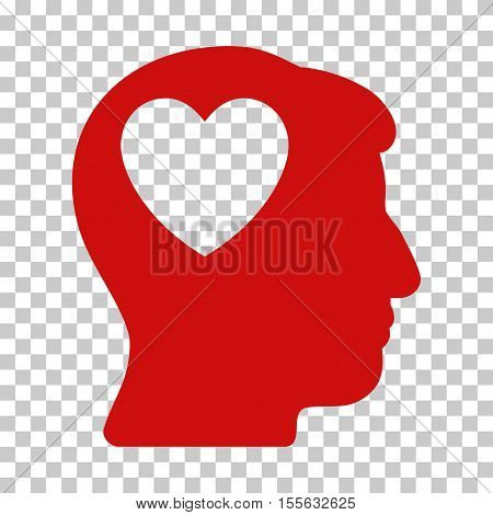 Red Love Heart Think interface toolbar pictogram. Vector pictogram style is a flat symbol on chess transparent background.