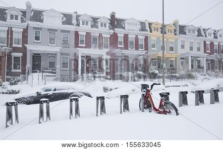 Washington D.C. USA - January 23 2016: Capital Bikeshare (also abbreviated CaBi) is a bicycle sharing system during snowstorm