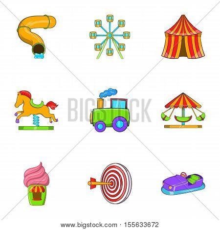 Entertainment for children icons set. Cartoon illustration of 9 entertainment for children vector icons for web