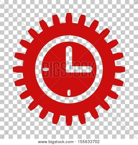 Red Time Options interface toolbar icon. Vector pictograph style is a flat symbol on chess transparent background.