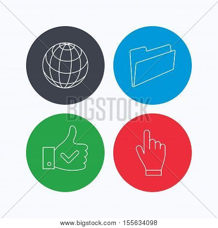 Folder, press hand and world globe icons. Social network linear sign. Linear icons on colored buttons. Flat web symbols. Vector