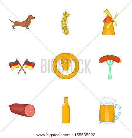 Stay in Germany icons set. Cartoon illustration of 9 stay in Germany vector icons for web