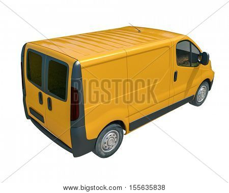 3d render: Yellow Delivery Van Icon: Transporting Service, Freight, Packages Shipment