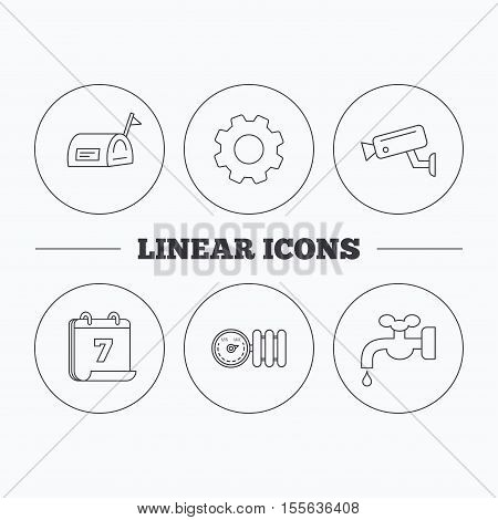 Water supply, video camera and mailbox icons. Radiator with regulator linear sign. Flat cogwheel and calendar symbols. Linear icons in circle buttons. Vector