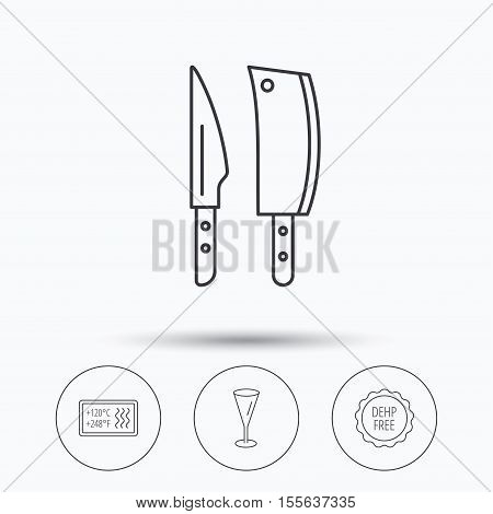 Kitchen knives, glass and heat-resistant icons. DEHP free linear sign. Linear icons in circle buttons. Flat web symbols. Vector