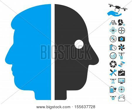 Dual Face pictograph with bonus flying drone tools images. Vector illustration style is flat iconic blue and gray symbols on white background.