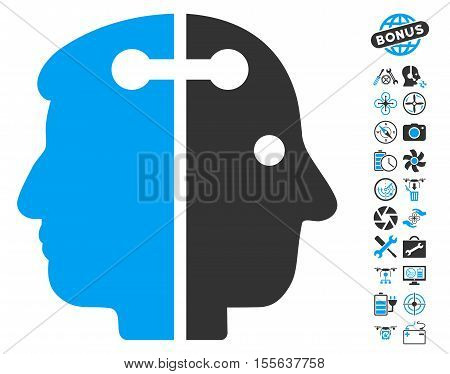 Dual Head Connection pictograph with bonus aircopter tools clip art. Vector illustration style is flat iconic blue and gray symbols on white background.