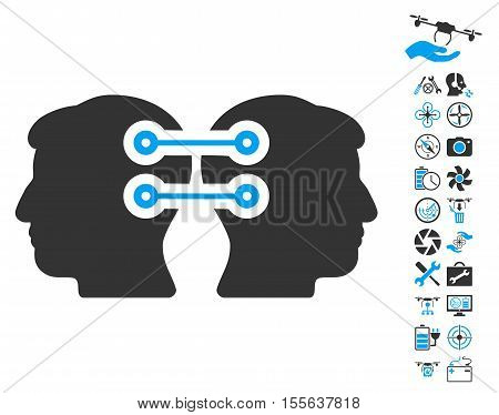 Dual Heads Interface Connection icon with bonus nanocopter service design elements. Vector illustration style is flat iconic blue and gray symbols on white background.