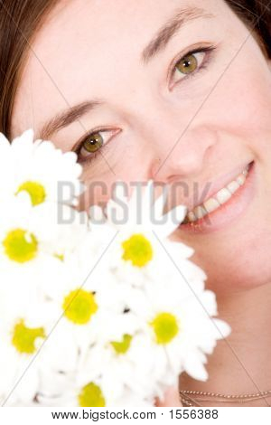 Beautiful Girl Portrait With Flowers