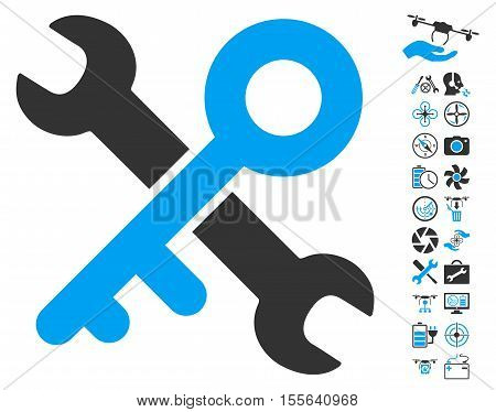 Key Tools pictograph with bonus uav service pictograph collection. Vector illustration style is flat iconic blue and gray symbols on white background.