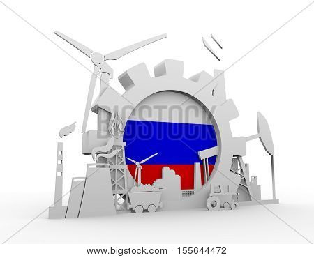 Energy and Power icons set with Russia flag. Sustainable energy generation and heavy industry. 3D rendering
