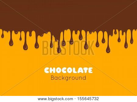 Background of flowing dark chocolate. Splash of melt brown sweet liquid. Melted chocolate drips and flowing. Abstract vector illustration