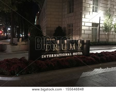 WASHINGTON, D.C. - 11/7/2016. Donald Trump's new International Hotel at the site of an old historic Postal Office in the heart of the nation's capitol on Constitution Avenue.