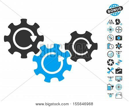 Transmission Gears Rotation pictograph with bonus airdrone tools pictograph collection. Vector illustration style is flat iconic blue and gray symbols on white background.
