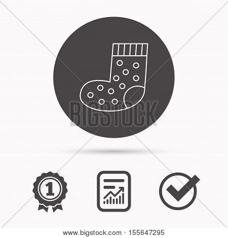 Sock icon. Baby underwear sign. Clothes symbol. Report document, winner award and tick. Round circle button with icon. Vector