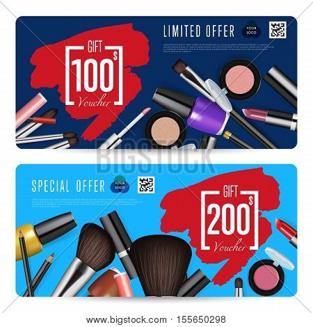 Cosmetic voucher template vector Gift voucher layout or discount – Voucher Design