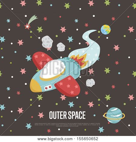 Outer space cartoon web banner. Flying spaceship, fiery comet, asteroid, planet Earth and Saturn on brown background vector illustration. For planetarium, astronomical club, childrens cafe web page