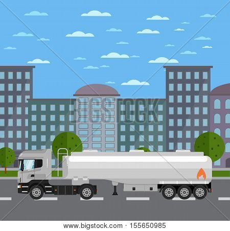 Commercial tank truck on road in city vector illustration. Urban cityscape background with skyscrapers. Modern fuel tanker truck. Vehicle for cargo transportation. Trucking and delivery service.