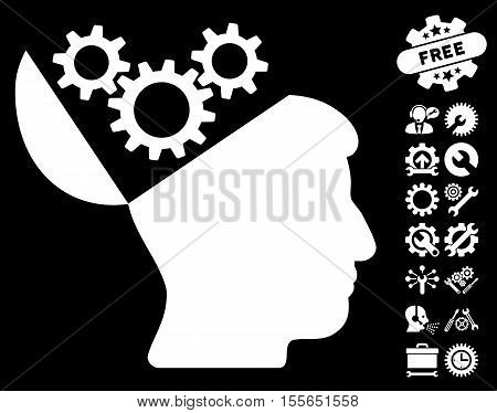 Open Mind Gears pictograph with bonus configuration pictograph collection. Vector illustration style is flat iconic white symbols on black background.