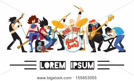 Rock band, music group with musicians concept of artistic people vector illustration. Singer, guitarist, drummer, solo guitarist, bassist, keyboardist characters performs on stage. Rock star