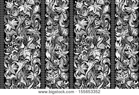 Striped seamless pattern. Floral wallpaper. Colorful ornamental border. Stock vector. Black and white.
