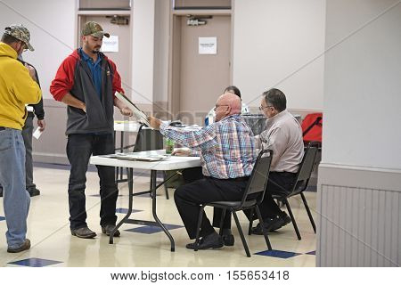 Saint Louis, MO - November 8, 2016: Voters come to their polling places to exercise their right to vote in the Presidential elections in Saint Louis, Missouri