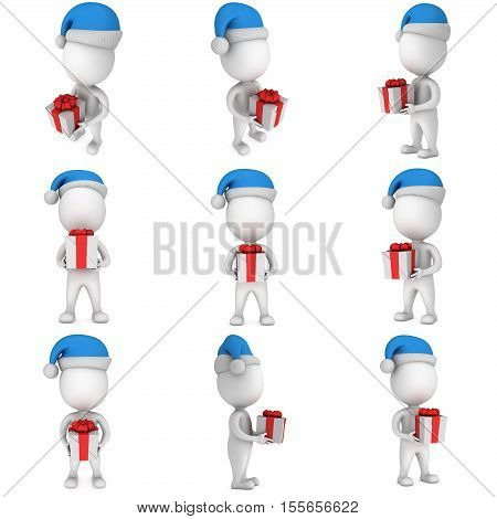 White small man in santa claus cap stand with gift with a red ribbon and a bow set. 3D render illustration collection isolated on white.