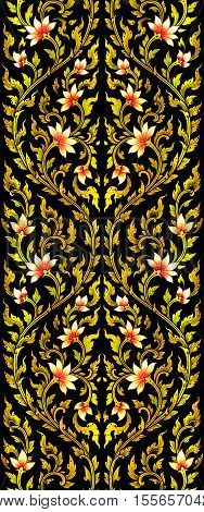 abstract long lotus flower images artistic paint from Thai painting & literature for background or wallpaper (General Thai Temple Art)