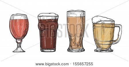 Beer glass and beer mugs vintage style illustration. Different type of beer glass on white background. Beer glass icons for beer bar pub restaurant menu. Hand drawn beer glass and beer mugs icon.