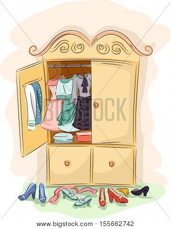 Illustration of a Vintage Cabinet Opened Wide to Reveal the Clothes Inside