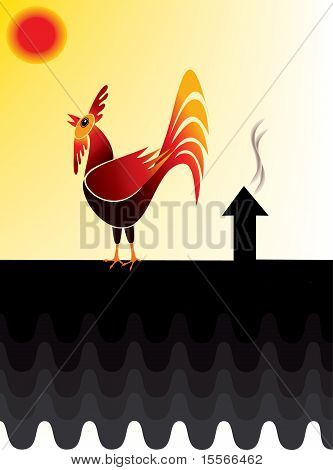 Rooster crowing