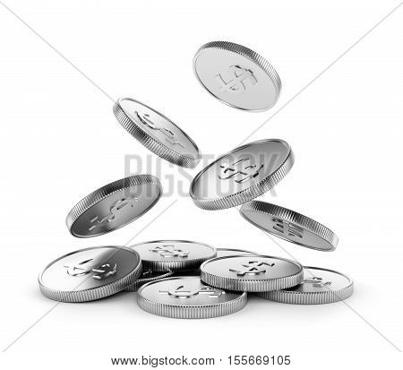 Making money business success finance wealth casino winning and jackpot concept. Falling coins with dollar symbol isolated on white background. 3D illustration