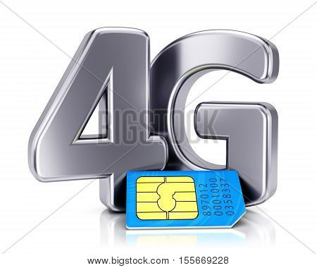 SIM card and 4G icon isolated on white background. Mobile communication technology and wireless high speed internet connection concept. 3D illustration