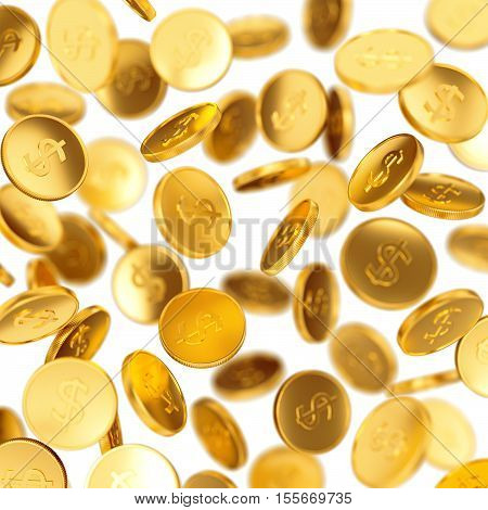 Making money business success finance wealth casino winning and jackpot concept: golden falling coins isolated on white background