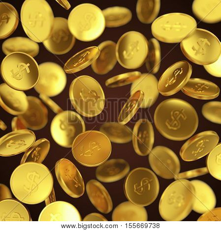 Making money business success finance wealth casino winning and jackpot concept: gold falling coins on dark background
