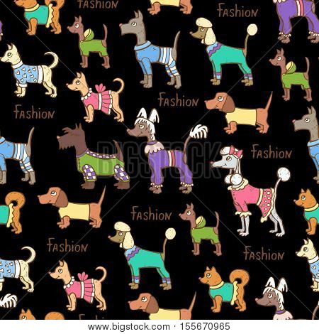 Vector seamless pattern with hand drawn colored dogs on black color. Pattern on the theme of fashion clothes for dogs. Background for use in design, packing, web site, fabric