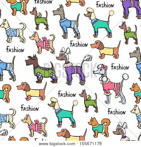 Vector seamless pattern with hand drawn colored dogs. Pattern on the theme of fashion clothes for dogs. Background for use in design, packing, web site, fabric