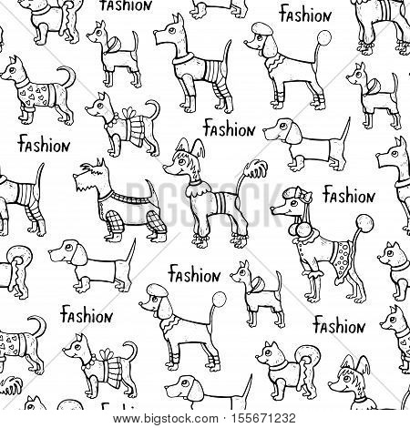 Vector seamless pattern with hand drawn isolated dogs on white color. Pattern on the theme of fashion clothes for dogs. Background for use in design, packing, web site, fabric