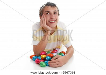 Boy With Easter Eggs And Looking Up