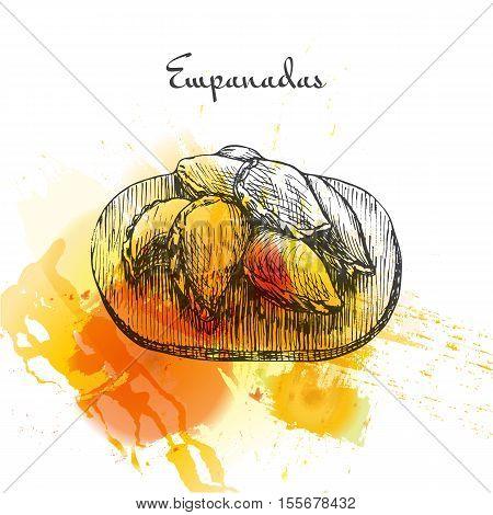 Empanadas colorful watercolor effect illustration. Vector illustration of Spanish cuisine.
