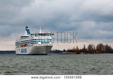Helsinki, Finland - October 25 : The Ferry Silja Line Arrives To Helsinki Port, Finland October 25 2