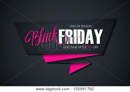 Black Friday Sale banner with handwritten element. Discount up to 75% off. End of season. Banner for business, promotion and advertising. Vector illustration.